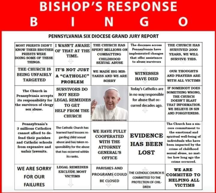 Bishop Response Bingo Card